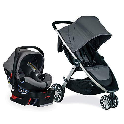 Britax B-Lively Travel System with B-Safe Ultra Infant Car Seat, Gris - Birth to 55 Pounds