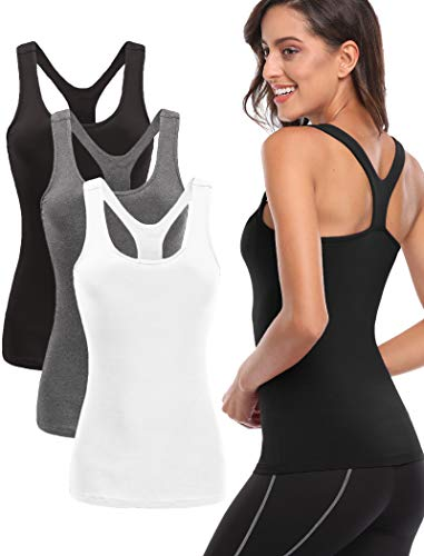 TELALEO Workout Tank Tops for Women, Athletic Racerback Tank Tops for Basic Activewear,Sleeveless Dry Fit Shirts3 Pack Black/Gray/White X-Large