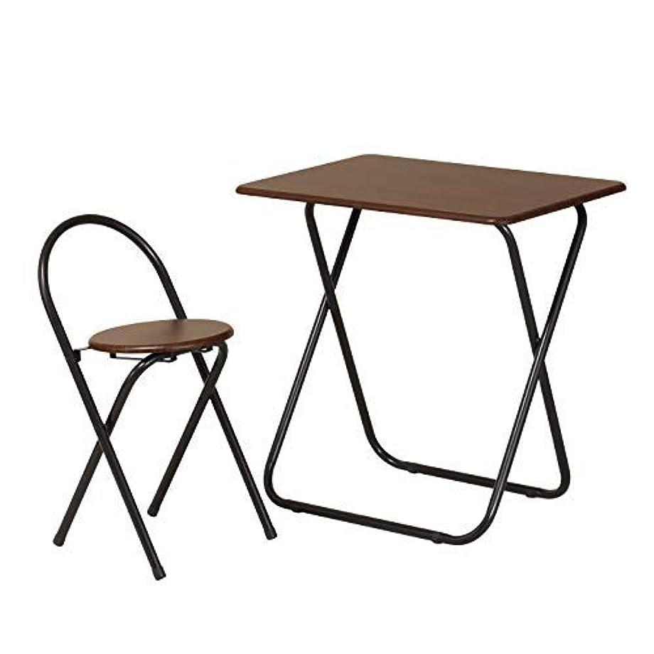 上院議員永久ビルダーフォールディング テーブル イス セット ダークブラウン TC-7050 (DBR) | 折りたたみ 折畳み 椅子セット 背付き 一人暮らし 一人用 新生活 コンパクト 会議 木製