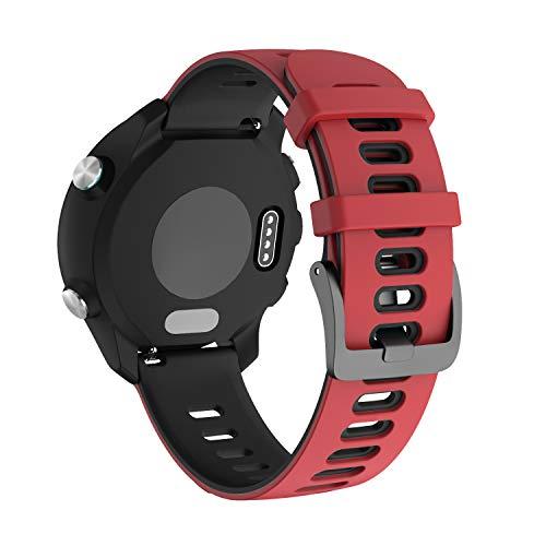 NotoCity für Garmin Vivoactive 3 Armband, 20mm Silikon Ersatzarmband Kompatibel mit Samsung Galaxy Active 2/ Gear Sport/Galaxy Watch 42 mm/Garmin Forerunner 645/245(Rot schwarz)