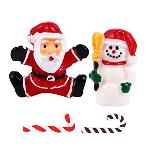 EXCEART 20Pcs Weihnachtsminiaturen DIY Schneekugel Figuren Weihnachtsdekorationen für Weihnachtsfeier Weihnachtsdorfdekoration Ornamente (Zufälliger Stil)