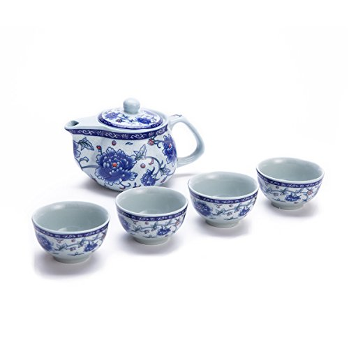 THY COLLECTIBLES Exquisite 5 PCS Blue-and-White Peony Design Ceramic Tea Pot Tea Cups Set in Beautiful Color Gift Box