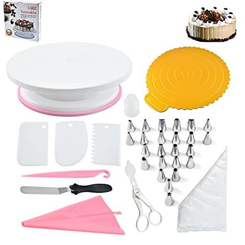 ZTBY Torta giratoria 134 piezas decoración mesa conjunto decoración paleta giratoria extensión herramientas para hornear hogar 518