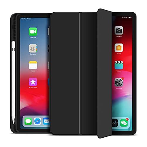 VAGHVEO - Funda para iPad Pro 11' 2021 (3ª generación) con lápiz capacitivo para iPad Pro 11 2020 Flexible Smart Cover Case (Despertador y Sueño Automático) Funda trasera TPU flexible Negro