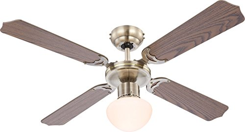 Deckenventilator mit Licht inkl. LED Leuchtmittel 9 Watt Zugschalter (Rattan Flügel, LED Deckenlampe, Deckenleuchte, Ventilator mit Beleuchtung, 106 cm)