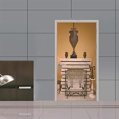BXZGDJY 3D-deursticker, deurfolie, open haard, oude boeken bibliotheek, rek, boekenwerk, antiek, kaarsen, rustiek behang, fotobehang, inclusief deurbehang, zelfklevend deurposter - fotobehang, deurfolie, poster behang 80X200CM
