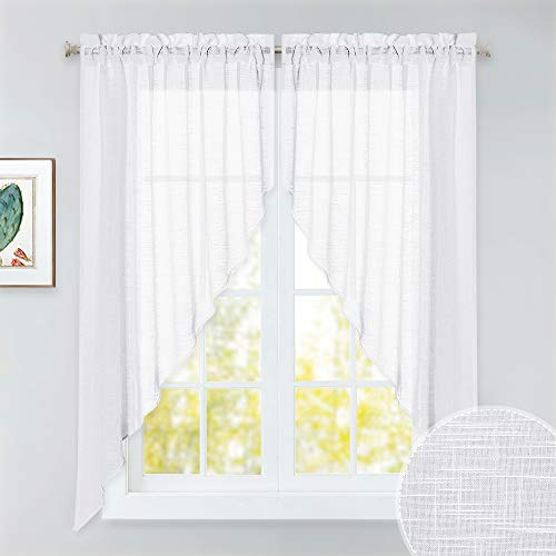 RYB HOME Semi Sheer Curtain Valance Window Topper, Textured Linen Sheer Kitchen Curtain Tier Swag Set, Privacy Half Window Curtains for Bedroom Living Room Bathroom, W 36 x L 63, 2 Panels, White