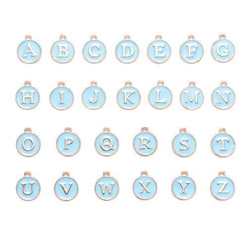 26 ciondoli misti in acciaio inox con 26 lettere dell'alfabeto dalla A alla Z, per collane, bracciali, gioielli, accessori Cielo blu.