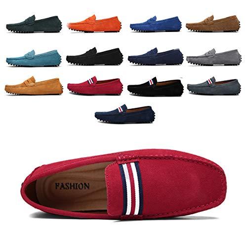 AARDIMI Herren Mokassins Bootsschuhe Wildleder Loafers Schuhe Flache Fahren Halbschuhe Beiläufig Slippers Hausschuh (39, Rot)