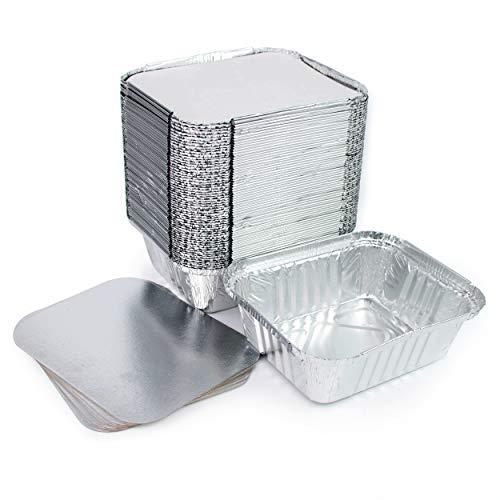 Lote de 100 bandejas de aluminio desechables con tapa para transportar alimentos, congelar, cocinar (1 compartimento de 500 ml)