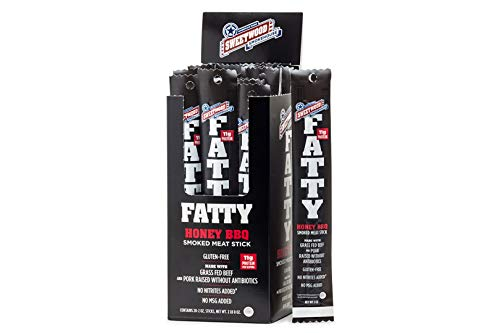 Sweetwood Smokehouse Fatty Meat Stick | Honey BBQ Flavor | 20 Pack | 2 oz Sticks | USA Grass Fed Beef, Antibiotic Free Pork | Paleo, Gluten Free, Slow Smoked Meat Snack | No Nitrites or Added MSG