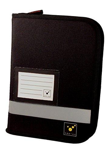 tee-uu TRIP Organizer Fahrtenbuchmappe mit Ringbuchmechanik DIN A5 Hochformat (rot und schwarz) (schwarz)