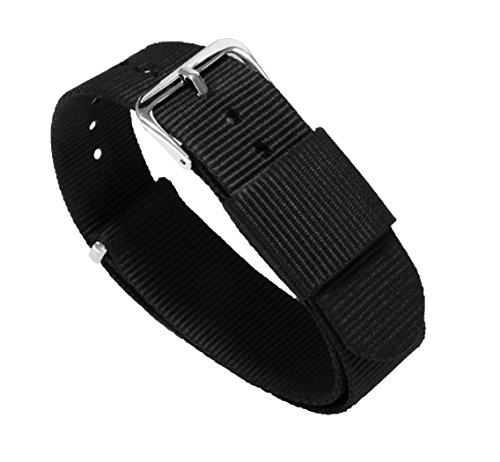 22mm Black Standard Length - BARTON Watch Bands - Ballistic Nylon Military Style Straps