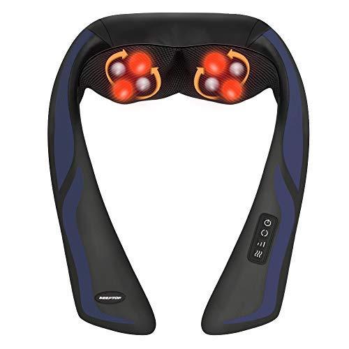 Schulter Massagegerät für Nacken Rücken Shiatsu Nackenmassagegerät mit Wärmefunktion - Elektrisch Massager mit 3D-Rotation Massage, 3 Einstellbaren Geschwindigkeiten für Hause Büro Auto