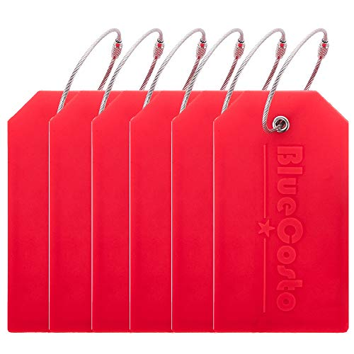 BlueCosto 6 Pack Luggage Tags Suitcase Tag Travel Bag Labels w/Privacy Cover - Red