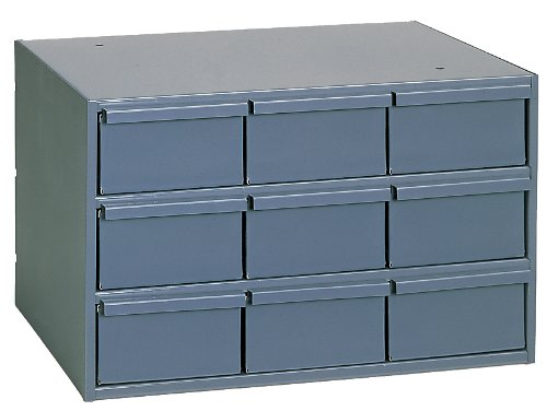 "Durham 004-95 Gray Cold Rolled Steel Vertical Storage Cabinet, 17-1/4"" Width x 10-7/8"" Height x 11-5/8"" Depth, 9 Drawer"