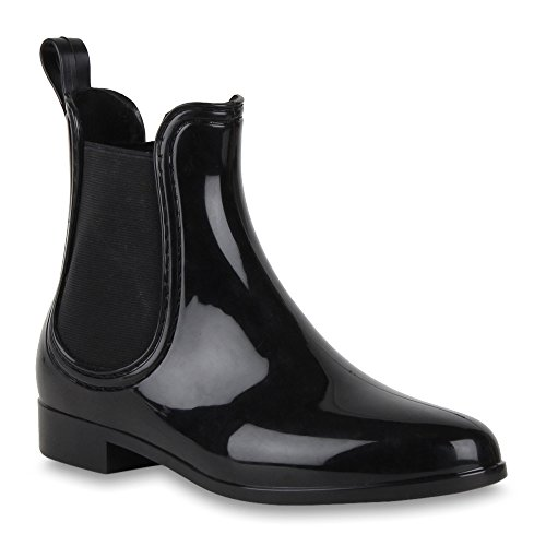 Damen Stiefel Lack Trendy Freizeit Gummistiefel Chelsea Boots Blockabsatz Booties Gummistiefeletten Schuhe 47336 Schwarz Lack 41 Flandell