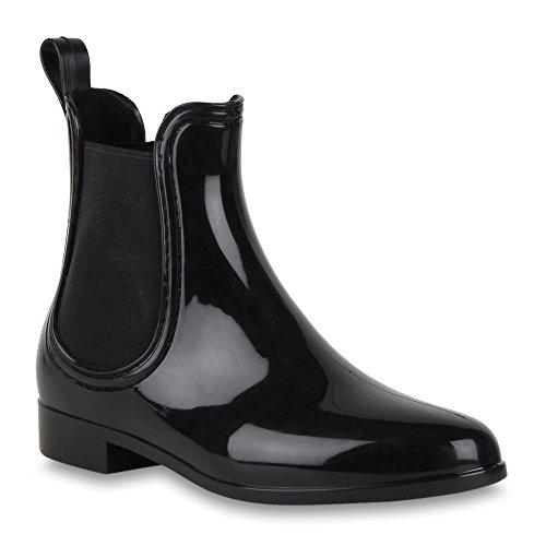 Damen Stiefel Lack Trendy Freizeit Gummistiefel Chelsea Boots Blockabsatz Booties Gummistiefeletten Schuhe 47336 Schwarz Lack 38 Flandell
