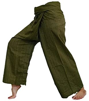 Original Thai Fisherman Fisher Yoga Pants Trouser stripe-Dark Olive Green