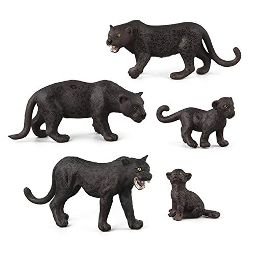 ZECAN 5 Stück Schwarzer Panther Figur, Simulation Wildtiere Panther Modell Spielzeug Set, Handgemalte Spielzeugfigur Modell Für Kinder Sammlergeschenk