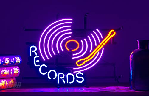 ZDQHLL Neon Sign-Neon Sign Records for Bedroom Garage Beer Bar Signs and Nightclub, Real Glass Neon Light Sign for Wall Decor Art