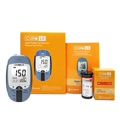 [O2 Lifecare] CURO L5 Cholesterol Test Kit - at Home Blood...