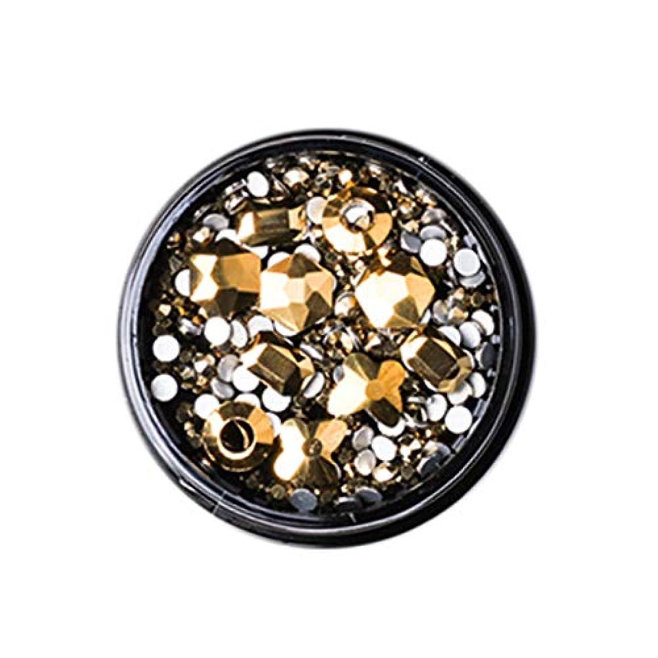 孤独な安全性武装解除Gaoominy 1ボックス混合3dラインストーンネイルアートの装飾クリスタル宝石ジュエリーゴールド光沢のある石チャームガラスマニキュアアクセサリー、ゴールド