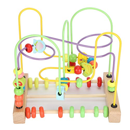 01 02 015 Wooden Educational Toy, Safe and Non-toxic Bead Maze Toy for Toddlers Roller Coaster Educational Toy, for Boys Girls Baby Gifts Indoor Games