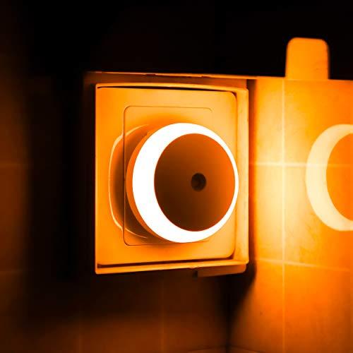Amber Night Light, Plug-in LED Nightlight, Dusk to Dawn Sensor, Energy Efficient, Plug in, Soft Glow, 2 Pack(M1801)