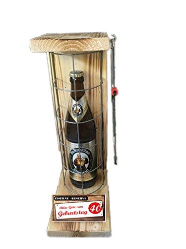 Alles Gute zum 40 Geburtstag - Eiserne Rerserve - Franziskaner Weissbier naturtrüb 0,50L incl. Säge zum zersägen des Gitter - Geschenk für Männer- Geschenk für Frauen
