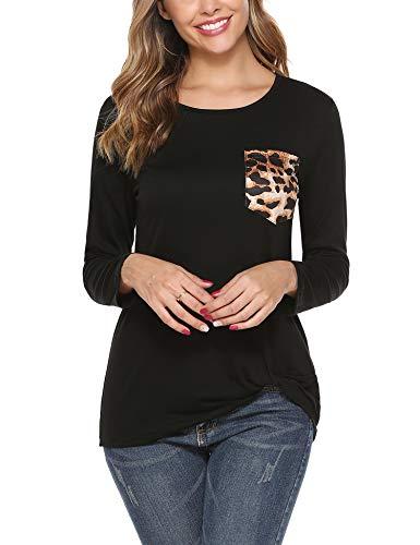 iClosam Camisas Mujer Manga Larga de Cuello Redondo Casual Blusas Tops del Camisetas con Bolsillo en el Pecho de Leopardo