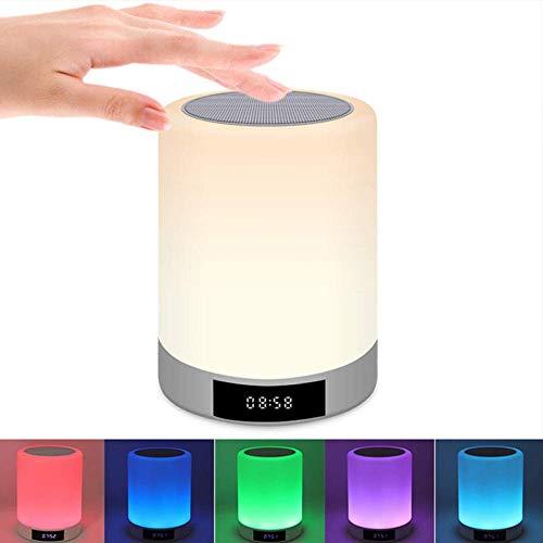 Reloj despertador altavoz Bluetooth, luz nocturna altavoz Bluetooth, altavoces Bluetooth portátiles, control táctil LED regulable, ayuda al sueño, luz de mesa de noche para niños