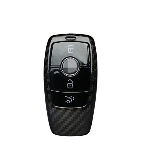 Genuine Carbon Fiber Key Fob Cover For Mercedes-Benz 2019-2021 A-Class C-Class G-Class 2017-2021 E-Class 2018-2021 S-Class Smart Car Remote Key, Car Key Fob Case For Men Fob Cover For Women - Black