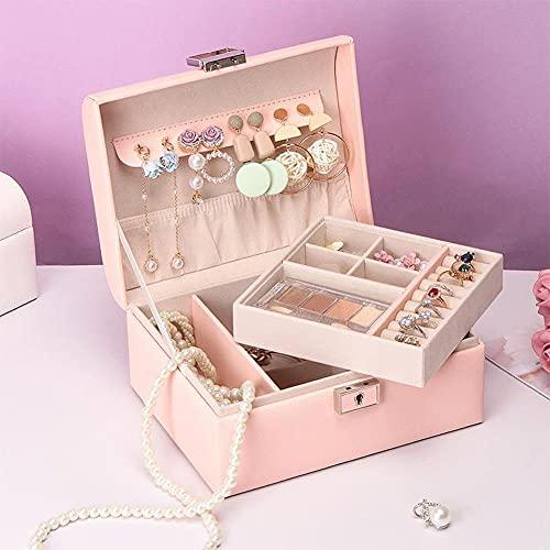 Bract Joyero grande de piel para joyas, caja de joyería impermeable con llave para anillos, pendientes, collar rosa