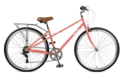 FabricBike Portobello - Bicicleta de Paseo Mujer, Bicicleta Urbana Vintage Retro, Bicicleta de Ciudad Estilo Holandesa con Cambios Shimano Sillín Confortable. (Portobello Coral)
