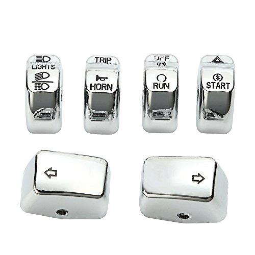 ECLEAR Lot de 6 interrupteurs de commande chromés pour Harley Dyna Softail Sportster-Silver