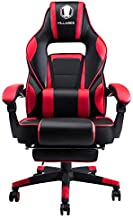 KILLABEE Massage Gaming Chair Racing Computer Desk Office Chair High-Back Swivel Recliner Chair with Retractable Footrest and Adjustable Lumbar Support, Red