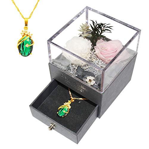 Cadeau de Bijoux Rose Éternelle avec Collier, Véritable Fleur Cadeau pour Elle/Petite Amie/Maman pour Saint Valentin/Anniversaire/Fête des mères