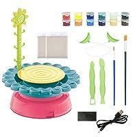 電気陶器ホイールアートクラフトキットアートとクラフトキッズおもちゃ陶器成形機子供のための教育エンターテインメントおもちゃ,Green red