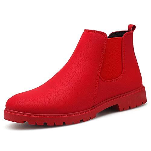 GHC Portafoglio e Portamonete Chelsea Boots di Uomini, Tirare Cuoio antiscivolo Scarpe a punta arrotondata, cuciture colore solido High Top elastico cavigliera Shoes (Color : Red, Size : 43 EU)