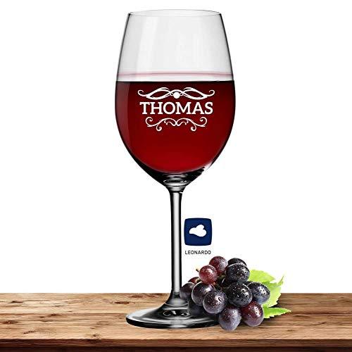 Deitert Leonardo Bordeauxglas Rotweinglas XL mit Namen oder Wunschtext graviert, 640ml, Daily, personalisiertes Premium Bordeauxglas in Gastroqualität (Barock01)