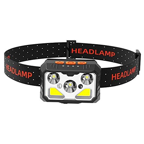 Hellery Linterna Frontal COB, 650 lúmenes LED COB, Resistente al Agua, 6 Modos, luz Frontal, Linterna, Duradera, Impermeable, para Acampar al Aire Libre,