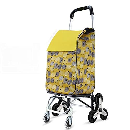 WYZXR Faltbarer Einkaufswagen 8-Rad-Treppen-Kletterwagen, für Lebensmittelgeschäfte Leichter Treppen-Kletterwagen Einkaufen (Farbe: B)
