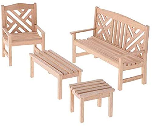 EatingBiting Dollhouse Accessories and Furniture 1:12 Dollhouse Miniature Furniture Wooden Garden Unpainted Bench Chair 4 Pieces per Set, Including 1 Double Chair, 1 Single Chair, 1 Table, 1 Stool