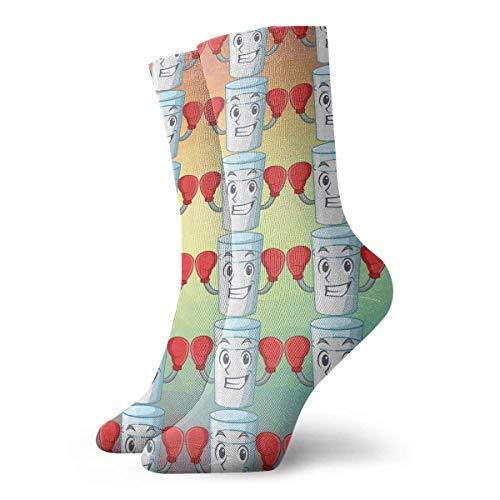 Grappige Crazy Crew Sock Boksen Karakter Melk Glas in Eettafel Gedrukt Sport Atletische Winter Warm Sokken 30 cm Lange Gepersonaliseerde Gift Sokken