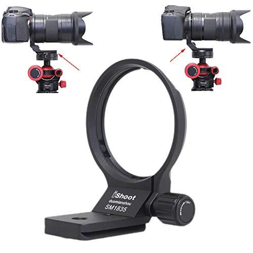 iShoot - Collare per obiettivo in metallo, compatibile con Sigma 18-35 mm f/1.8 DC HSM Art, supporto per obiettivo staffa inferiore è Arca-Swiss Fit piastra a sgancio rapido caratteristica