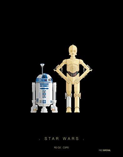 Memory Box Tribute Art Work Print (por Fred Birchal) de Star Wars R2-D2 C3P0 - Disfraz Impreso en Papel de 300 g/m