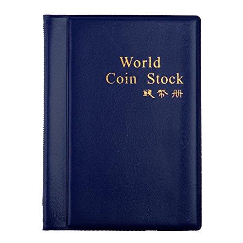 LUOEM Raccoglitore per Monete Album Moneta Portamonete per 120 Monete Moneta Tasche Blu