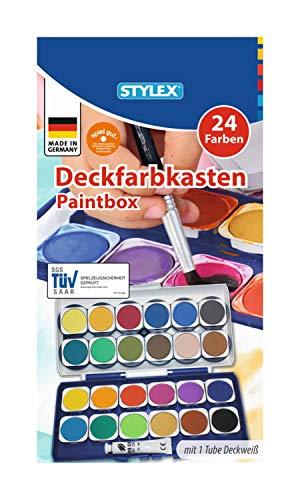 Stylex 28179 - Deckfarbkasten mit 24 Wassermalfarben und einer Tube Deckweiß, abnehmbarer Deckel mit 6 integrierten Feldern zum Mischen, ohne Pinsel