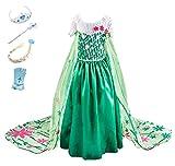 Monissy Costume Reine des Neiges Princesse Elsa Robe Maxi Vert Fleur Stéréoscopique...